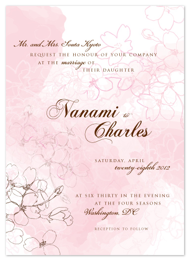 wedding invitations - Floating Cherry Blossoms by Monika Natius