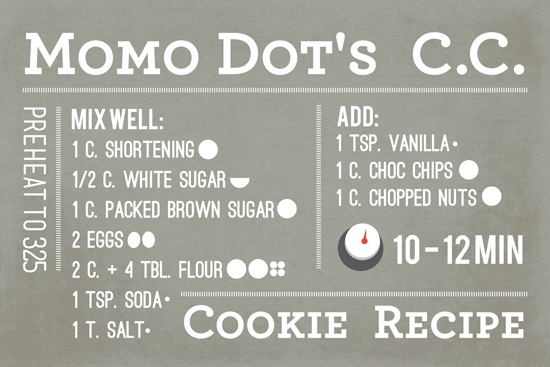art prints - MoMo Dot's Chocolate Chip Cookie Recipe by BusyNothings