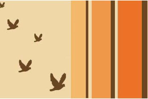art prints - Retro Birds Flying Art Print by Erin Lachacz