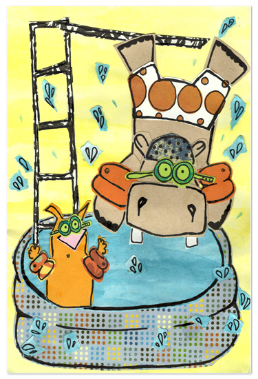 art prints - Hippo & Cat Pool Party by erin mcgill