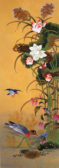 art prints - Lotus flowers and Mandarin Ducks by Kumoak Rang