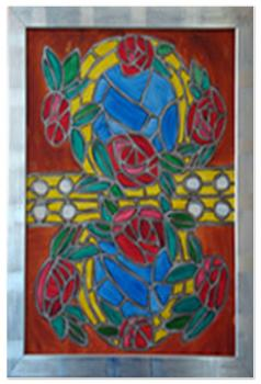 Red Roses & Golden Rings Canvas 1 - Stained Glass Window