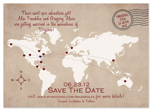 save the date cards - World Map Destination Save the Date by My Sweetie Pie