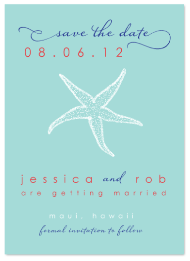 save the date cards - seashell by the seashore by Stella Bella Invites