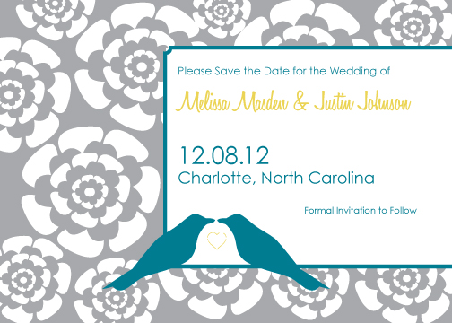 save the date cards - Love Bird and Flowers by Kim Keller