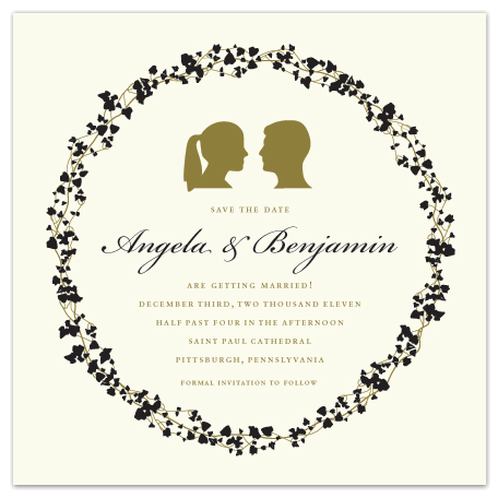 save the date cards - Silhouette and Vines by Erin Middleton