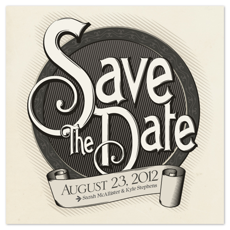 save the date cards - Antiquely by GeekInk Design