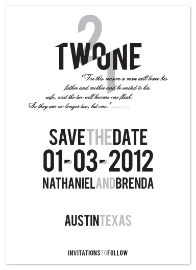 save the date cards - Two Become One by Timothy Layne