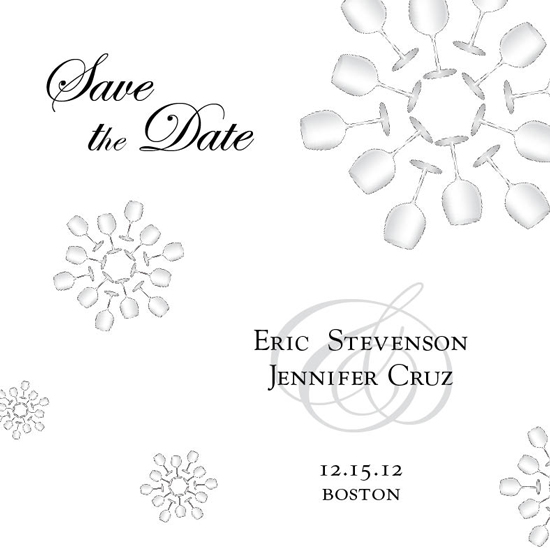save the date cards - Wine Glasses and Snowflakes by berberlita