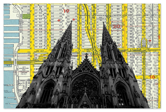 art prints - Saint Patricks Cathedral over NYC street map by Christopher Degiso