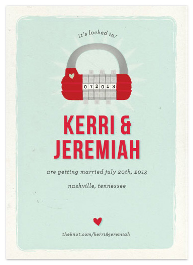 save the date cards - Locked In! by Bleu Collar Paperie