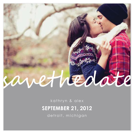 save the date cards - Cursive Romance by Emily Ford