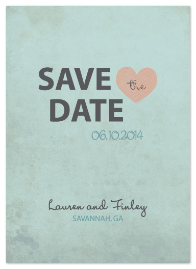 save the date cards - A Chevron Heart by Simply Shira