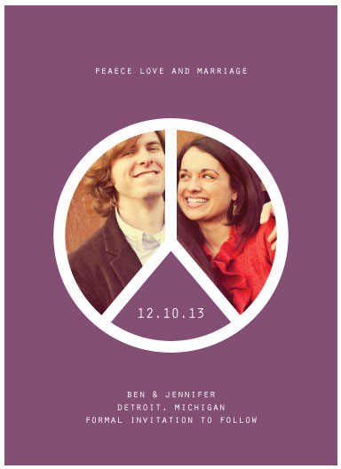 save the date cards - Peace Love and Marriage by Emily Ford
