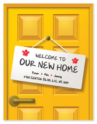 moving announcements - cute welcome sign by Min Lee