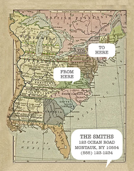 moving announcements - From here to here vintage map by zori levine