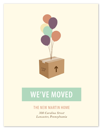moving announcements - Colorful Balloons Moving Box by Oneleven Creative