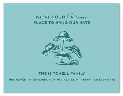 moving announcements - A New Place to Hang Our Hats by Card and Cove