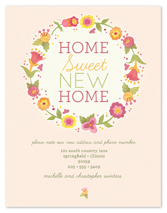 moving announcements - Floral Wreath by Laura Bolter Design