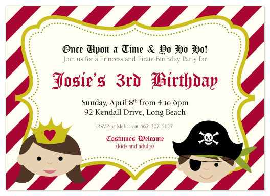 party invitations - Princess & Pirates by Heather Myers