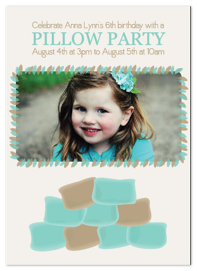 party invitations - Pillow Party! by Justine Grey