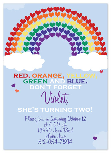 party invitations - rainbow of color by My Sweetie Pie