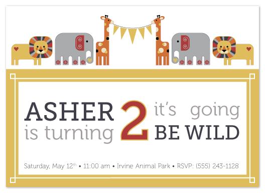 party invitations - Zany Zoo by Heather Myers