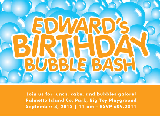 party invitations - Birthday Bubble Bash by Laura New
