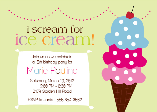 party invitations - Ice Scream Social by Green Ink