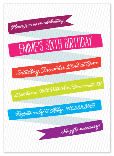 party invitations - Whimsical Ribbon by Abby McElfresh Creative