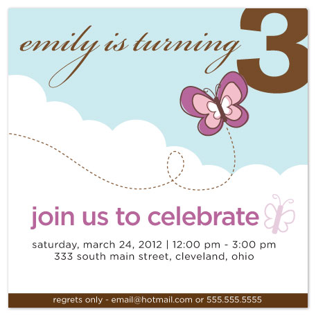 party invitations - Butterfly Birthday Wishes by Julie Bay