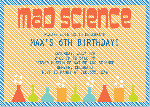 party invitations Mad Science at Mintedcom
