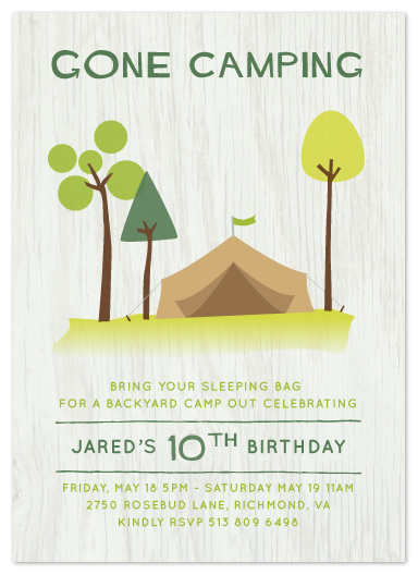 party invitations - Gone Camping by Kathleen Niederhauser