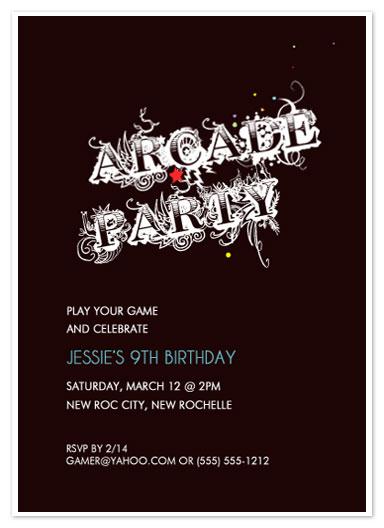 party invitations - Arcade Grafitti by zori levine