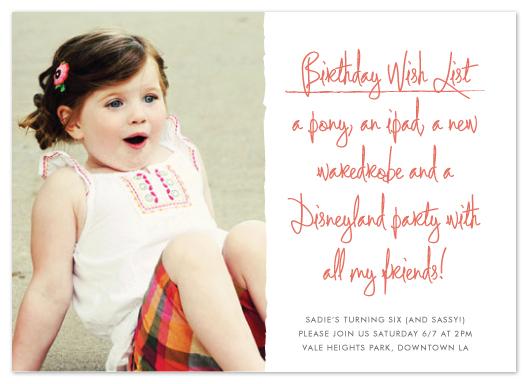 party invitations - birthday wish list by Waui Design