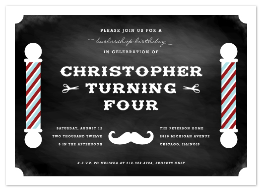 party invitations - Vintage Barbershop Blackboard by Lehan Veenker