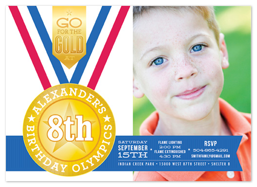 party invitations - Birthday Olympics  by Laura Bolter Design