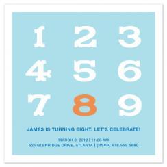 Big Numbers Birthday Invitation
