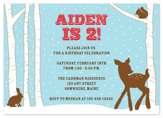 party invitations - Woodland Winter by Truly Noted