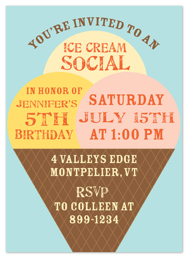 party invitations - Ice Cream Social by Truly Noted
