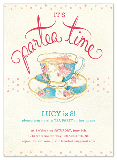 party invitations - it's tea time by la de dahm