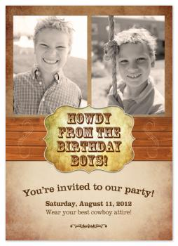 Cowboy Theme Birthday Party Invitation
