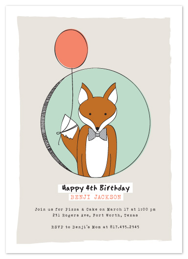 party invitations - Birthday Fox by Lesa Abney