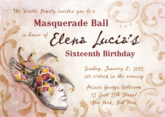 party invitations - Watercolor Venetian Masquerade by Shannon Crissey