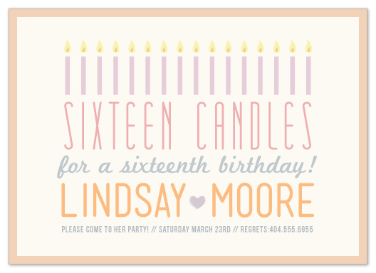 party invitations - Sixteen Candles Birthday by Elaine Stephenson