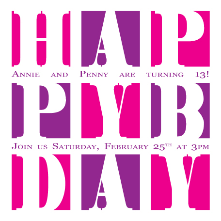 party invitations - Happy Bday by Lisa Zizza McSweeney