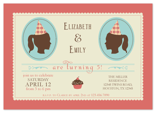 party invitations - Vintage Twins by Marlene Leibowitz