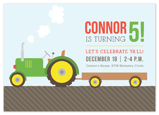 party invitations - Tractor Time by Courtnie Johnson