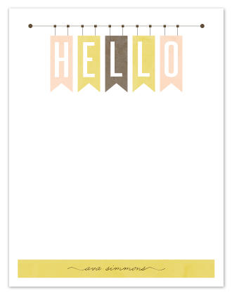 personal stationery - Hello banners by Stacey Meacham