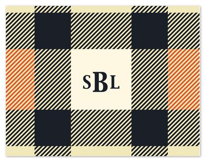 personal stationery - Orange Plaid by Stephanie Blaskiewicz